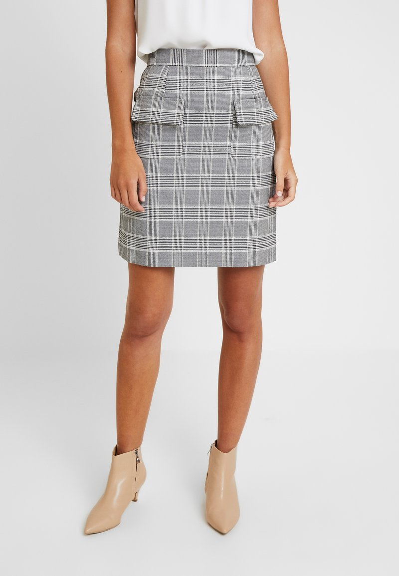 Great Plains London - PARADIS CHECK - A-line skirt - black combo
