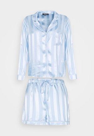 STRIPED SHIRT AND SHORTS SET - Pyjamas - blue