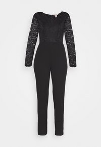 OCCASION - LONG SLEEVES LACE TOP JUMPSUIT - Mono - black