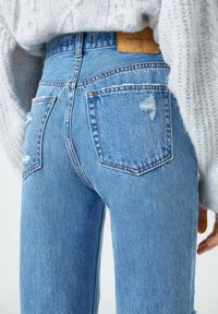PULL&BEAR - Straight leg jeans - mottled dark blue - 5