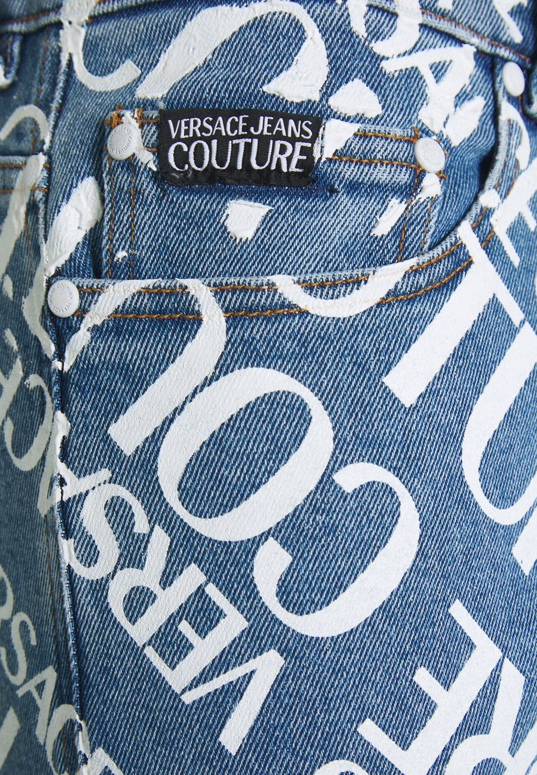 Versace Jeans Couture MILANO ALLOVER LOGO - Jean slim - blue denim