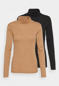 Dorothy Perkins - ROLL NECK 2 PACK  - Long sleeved top - black/camel - 4