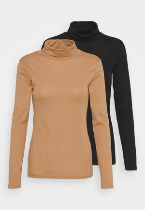 ROLL NECK 2 PACK  - Long sleeved top - black/camel
