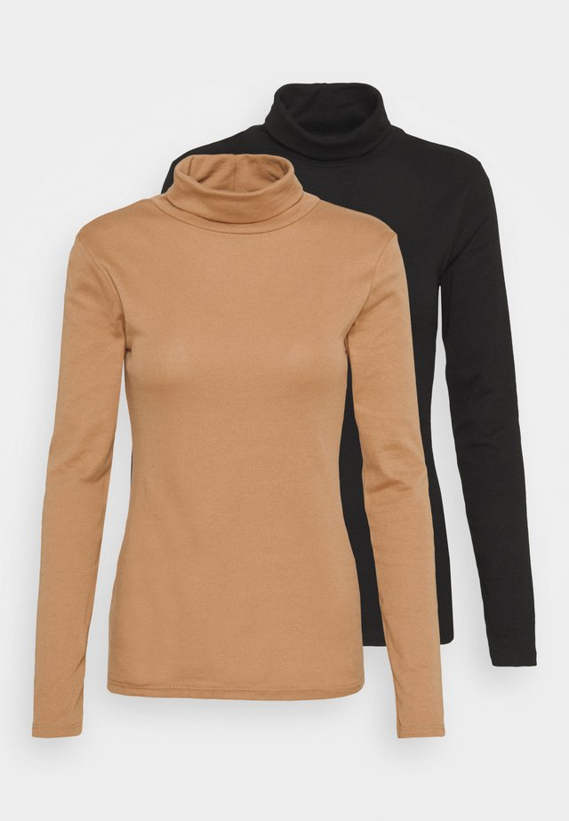 ROLL NECK 2 PACK  - Topper langermet - black/camel