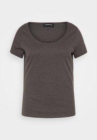 Even&Odd Curvy - 3 PACK - Basic T-shirt - mottled dark grey/white/black/ - 3