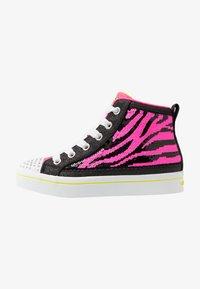 Skechers - FLIP-KICKS ZEBRA REVERSIBLE SEQUINS - Vysoké tenisky - black sparkle/neon pink - 0