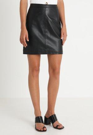 OBJCHLOE SKIRT - Leather skirt - black