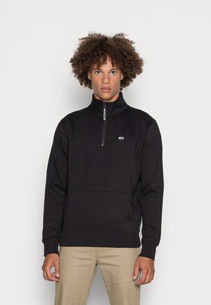 SOLID ZIP MOCK NECK - Sweatshirt - black