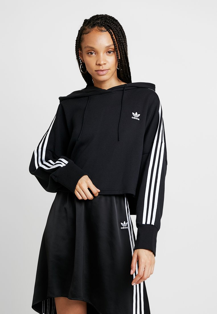adidas Originals - ADICOLOR CROPPED HODDIE SWEAT - Hoodie - black
