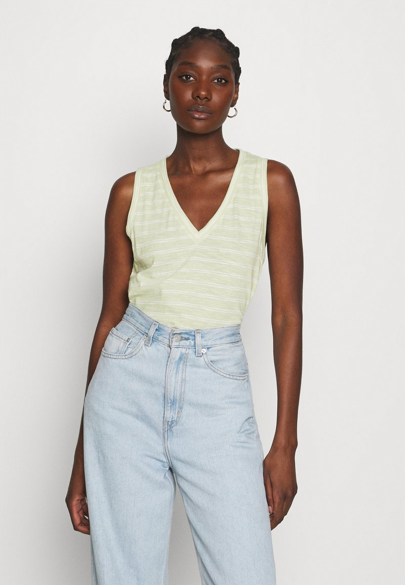 Madewell - WHISPER SHOUT V NECK TANK - Top - faded seagrass/white