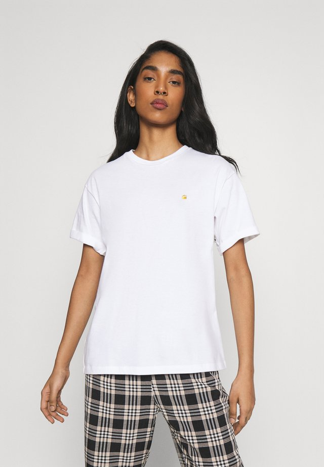 CHASE - T-shirt basic - white/gold