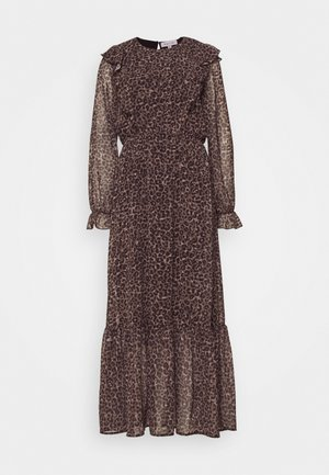 FRILL SHOULDER DRESS - Vestido largo - leopard print
