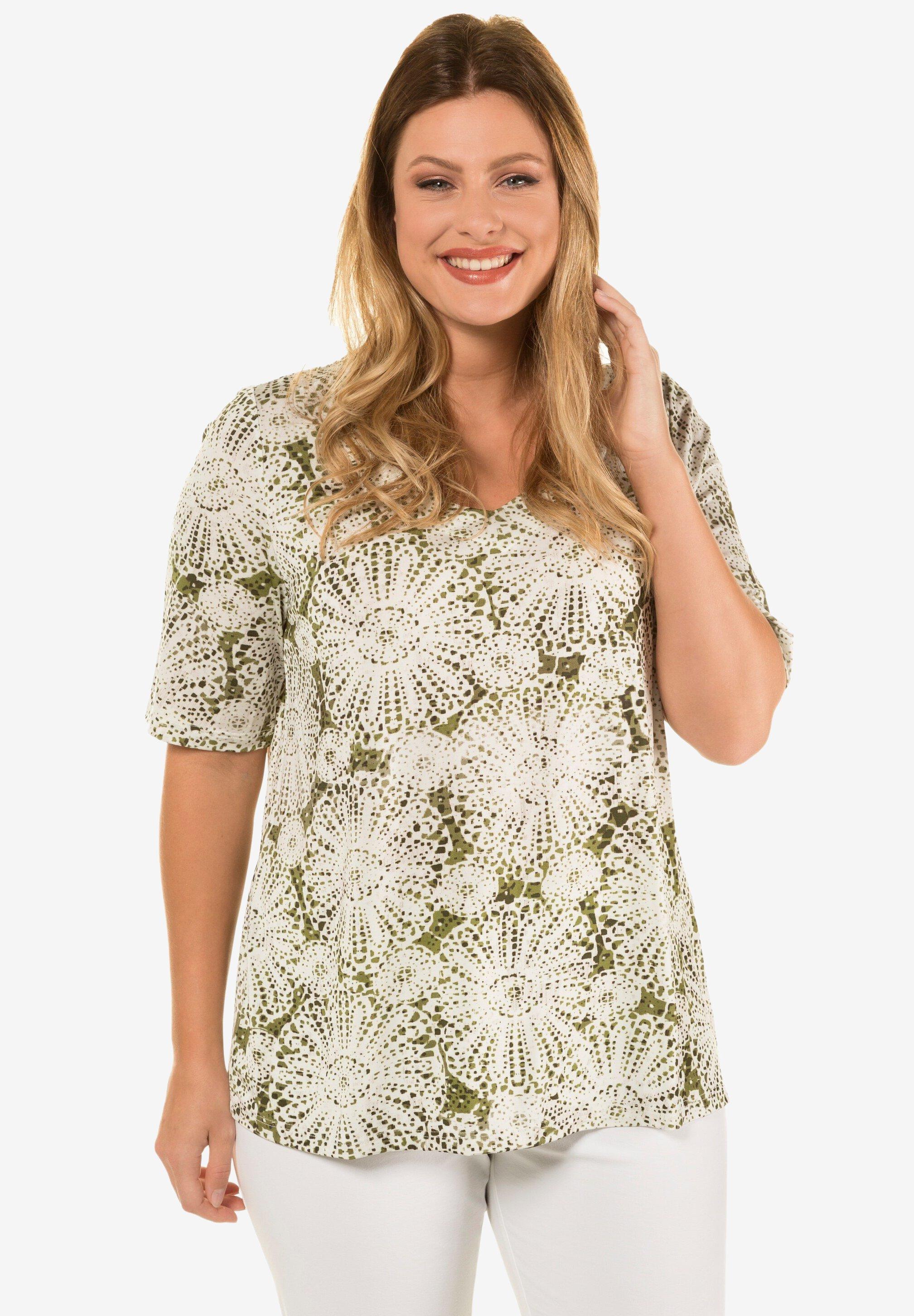 Ulla Popken SLINKY - T-shirt imprimé - moss - Tops & T-shirts Femme EXrHr
