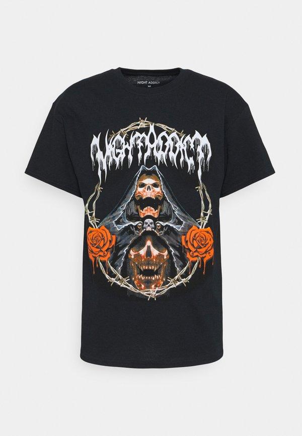 Night Addict REAPER - T-shirt z nadrukiem - black/czarny Odzież Męska LZGN