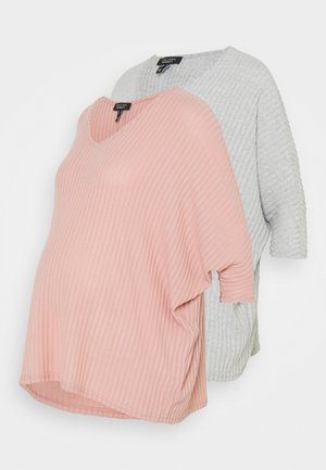 BRUSHED 2 PACK - Long sleeved top - light grey/rose