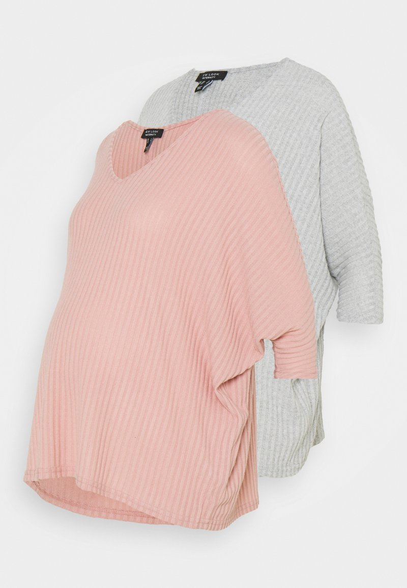 New Look Maternity - BRUSHED 2 PACK - Long sleeved top - light grey/rose