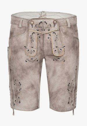 GUNDA  - Leather trousers - light brown