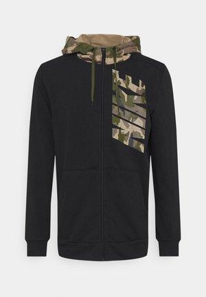 Zip-up sweatshirt - black/khaki/rough green