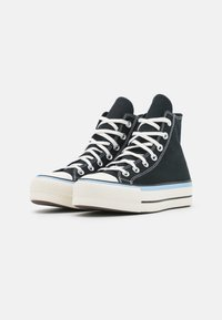 Converse - CHUCK TAYLOR ALL STAR FLORAL FUSION PATCH PLATFORM - High-top trainers - black/blue/egret - 2