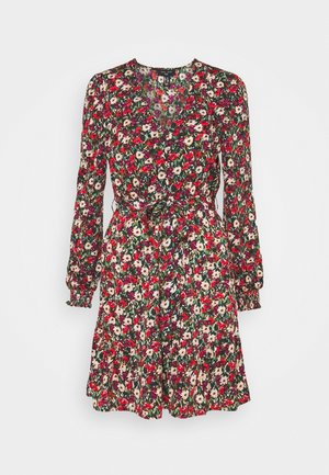 ELLA FLORAL WRAP TEA DRESS - Kjole - black pattern