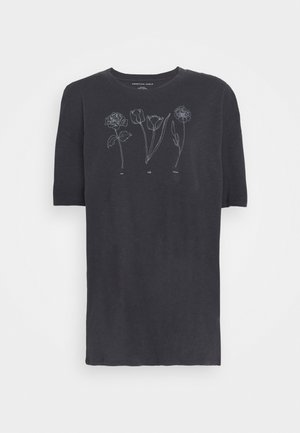 ECLECTIC ILLUSTRATION OVERSIZE LENNON TEE - Triko s potiskem - washed black