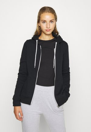 BASIC SWEAT JACKET WITH CONTRAST CORDS REGULAR FIT - Bluza rozpinana - black