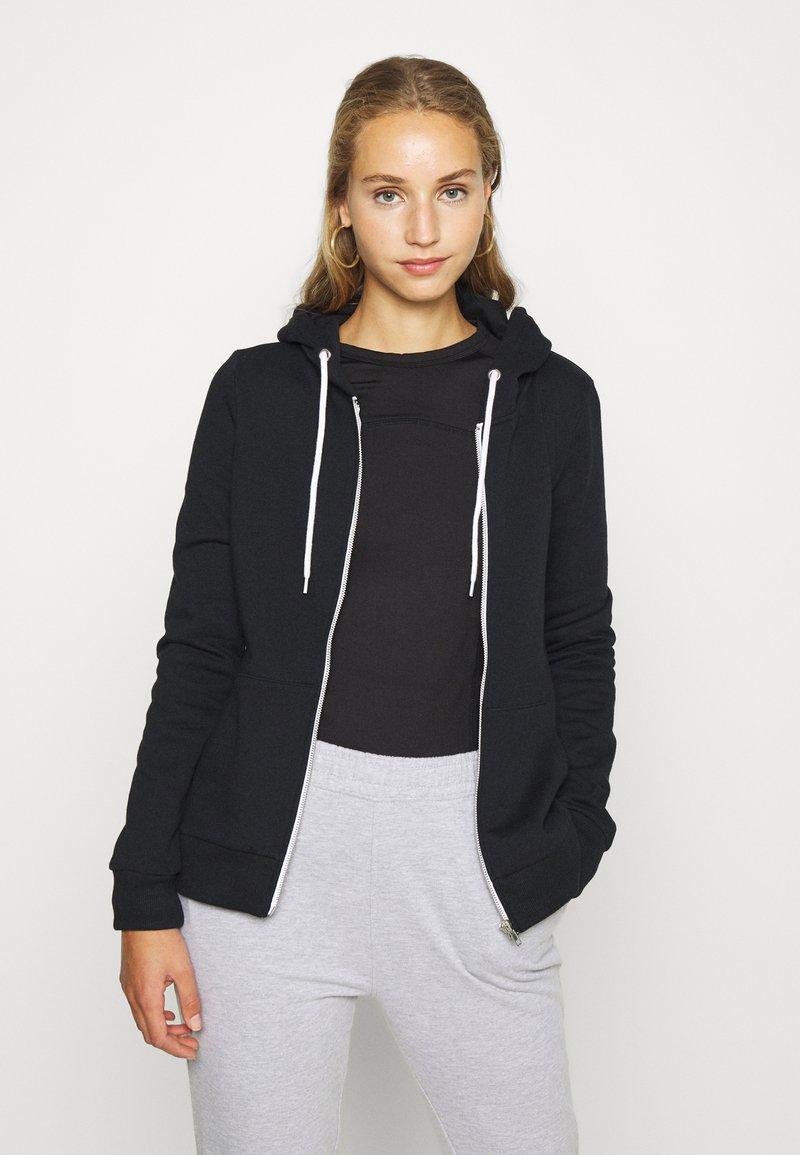 Even&Odd - Regular Fit Zip Sweat Jacket Contrast Cord - Hettejakke - black