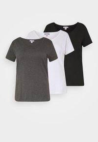 Anna Field Curvy - 3er PACK  - T-shirts - white/black/dark grey - 0