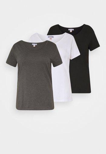 3er PACK  - Jednoduché triko - white/black/dark grey
