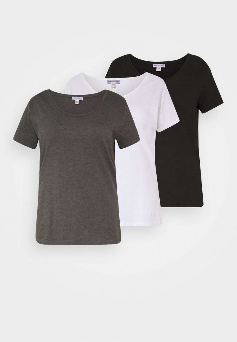 Anna Field Curvy - 3 PACK - T-shirts basic - white/black/dark grey