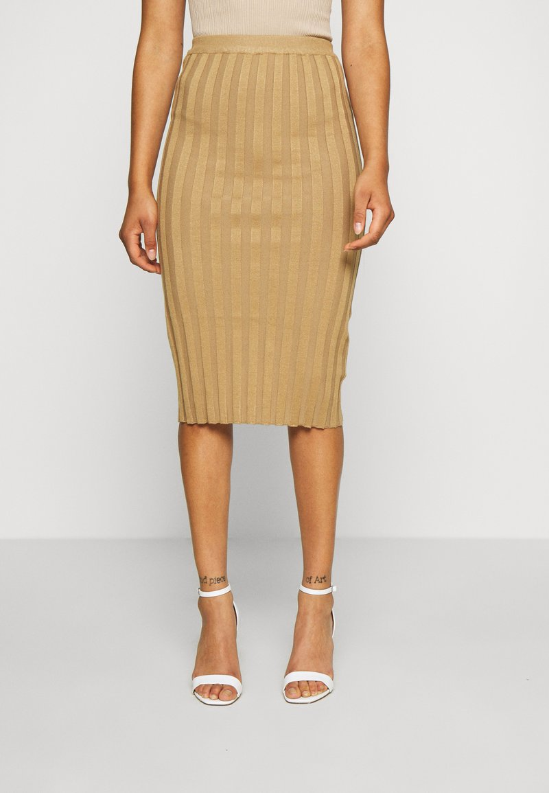 Missguided Tall - EXTREME MIDI SKIRT - Pencil skirt - brown