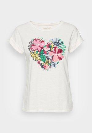CAMISETA FLOR TROPICAL - T-shirts med print - tan