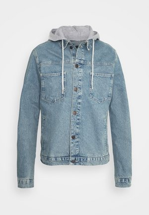 HOODED JACKET - Giacca di jeans - light blue wash