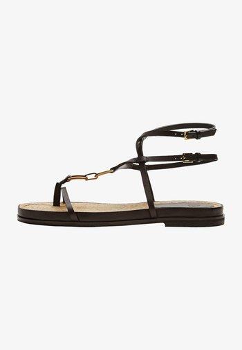 MIT JUTESOHLE UND RAHMEN  - T-bar sandals - brown
