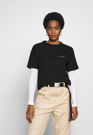 SCRIPT EMBROIDERY - T-shirts basic - black/white