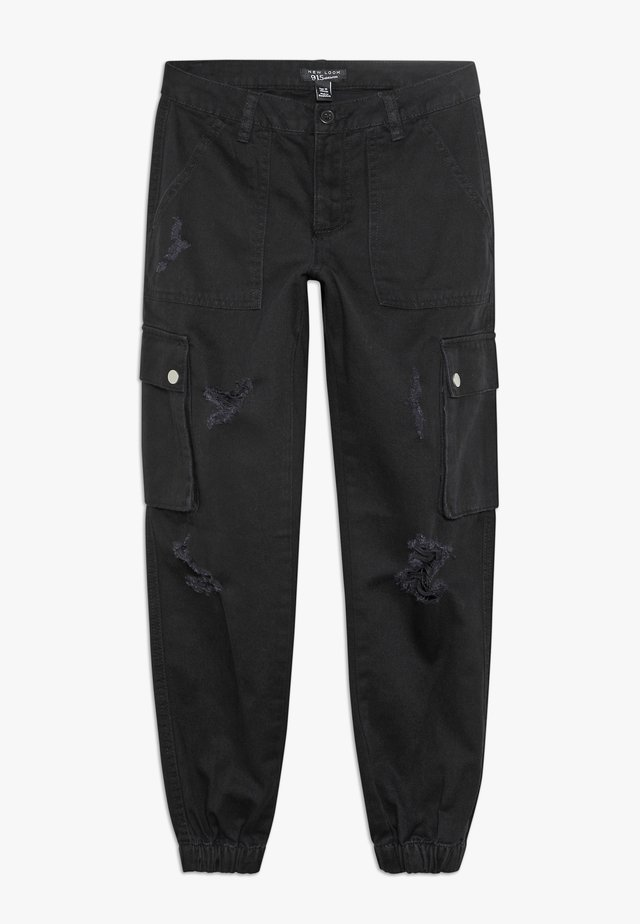 JACKIE RIPPED TROUSER - Cargo trousers - black
