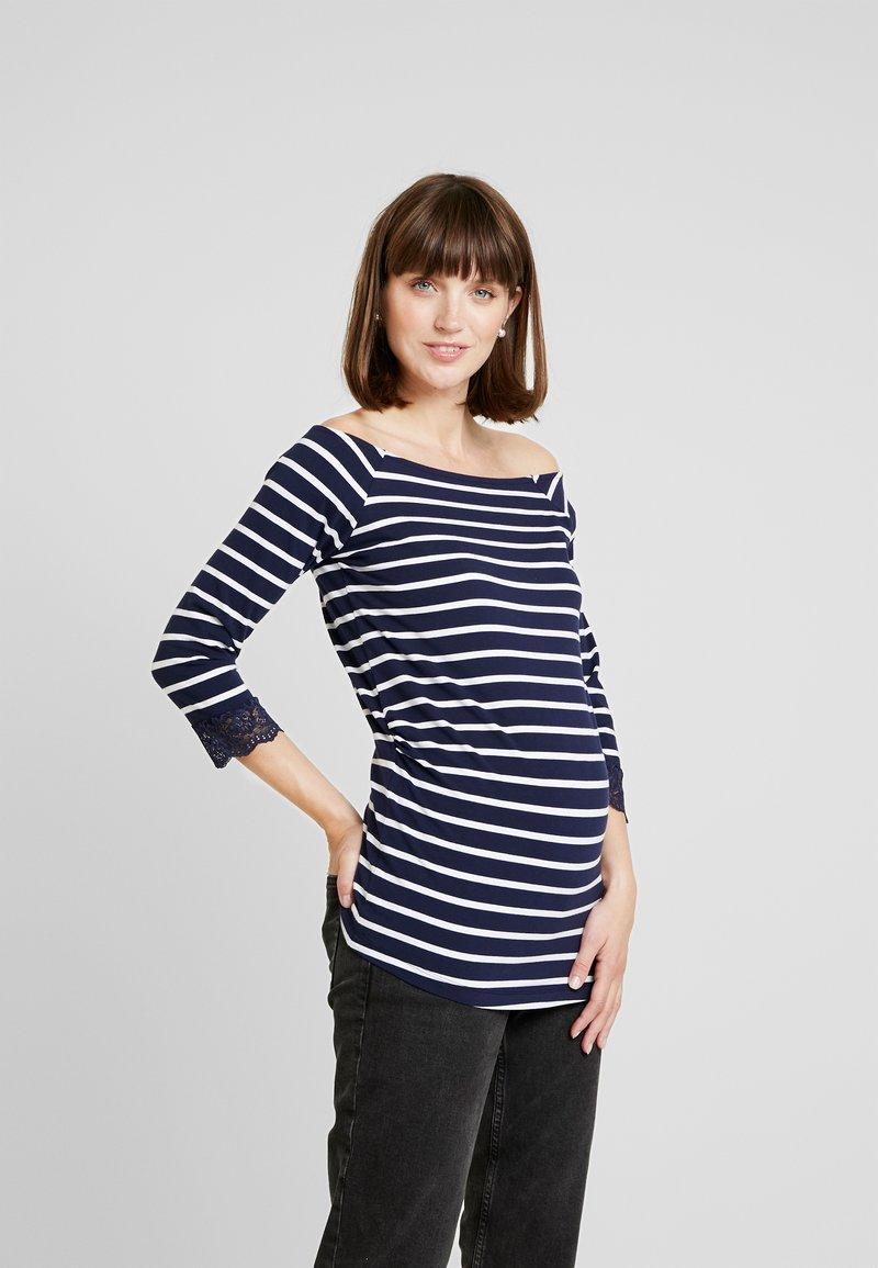 Anna Field MAMA - T-shirt à manches longues - off-white/dark blue