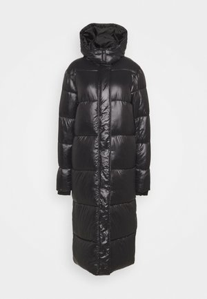 MAXI HOODED SHINE PUFFER - Winter coat - black