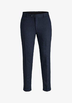 LINEN MIXED FIBER SUIT PANTS - Suit trousers - dark navy