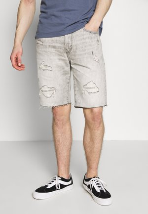 CRACKLE WASH - Shorts di jeans - light gray