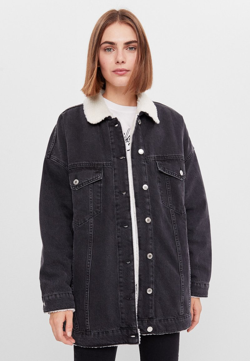Bershka - Denim jacket - black