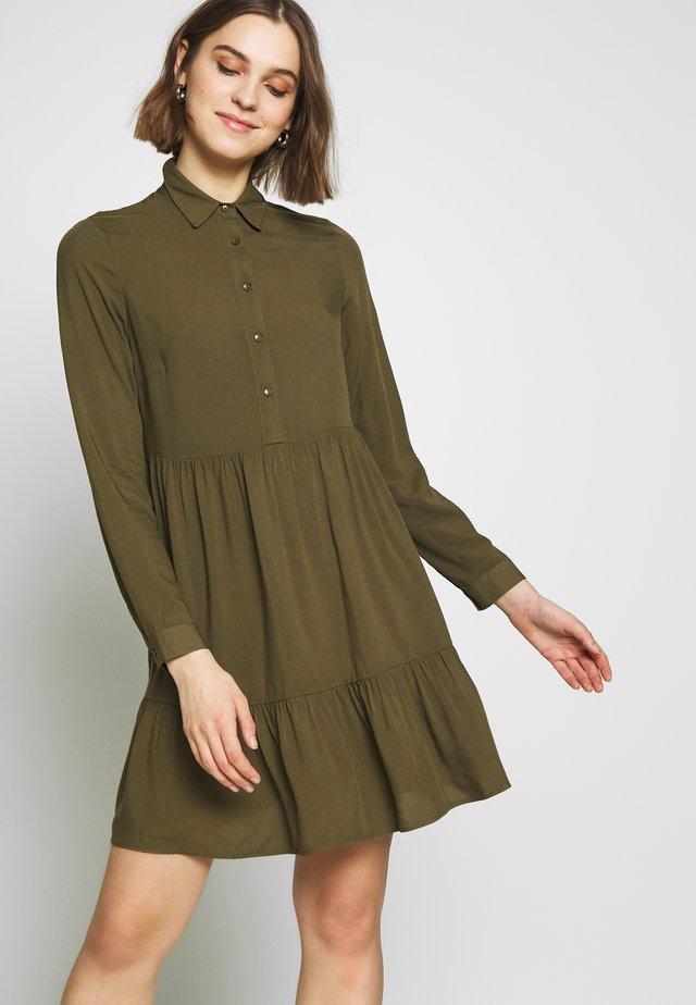 PLAIN FRILL HEM SHIRT DRESS - Shirt dress - khaki