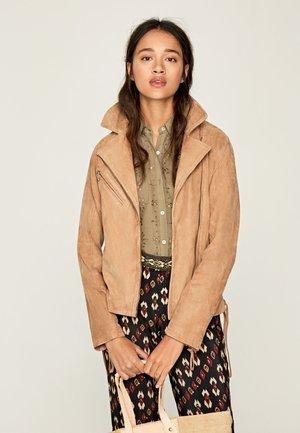 RITA - Leather jacket - sand
