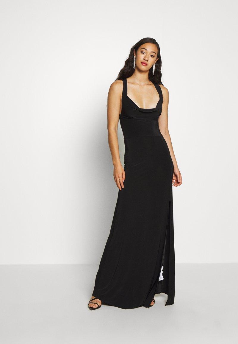 Missguided - SLINKY COWL NECK CROSS BACK MAXI DRESS - Abito da sera - black