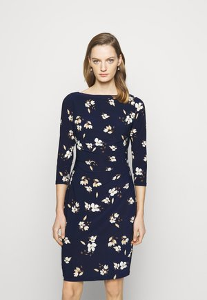 PRINTED DRESS - Jersey dress - navy/taupe
