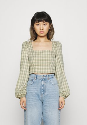 PUFF SLEEVE SQUARE NECK CROP - Blus - turquoise