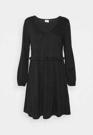 VITINNY V NECK DOLL DETAIL DRESS - Žerzejové šaty - black