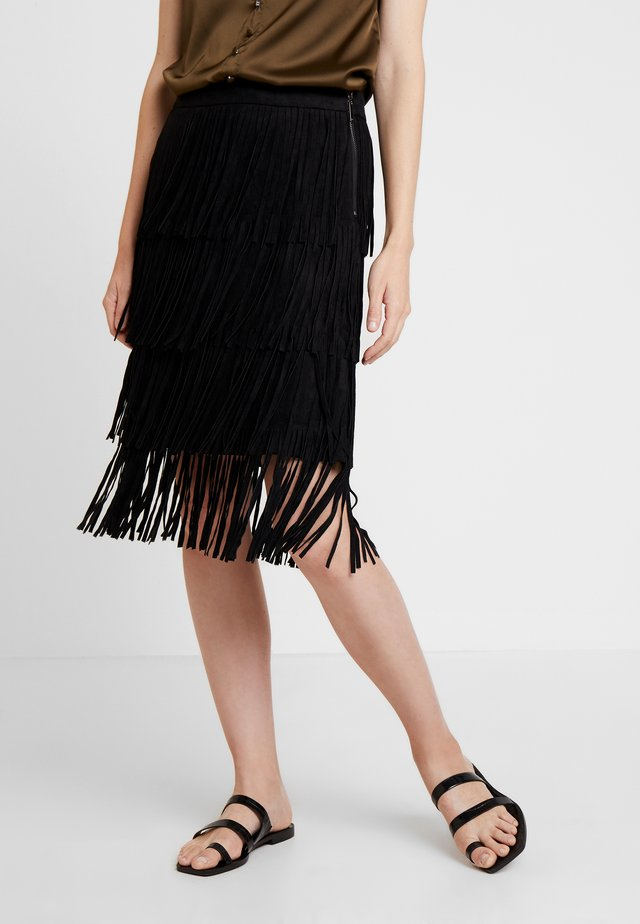 SKIRT WITH FRINGES - Pencil skirt - black