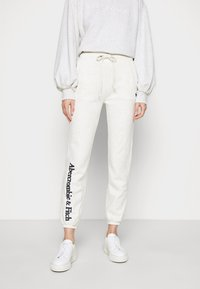 Abercrombie & Fitch - LOGO BANDED  - Tracksuit bottoms - light grey - 0