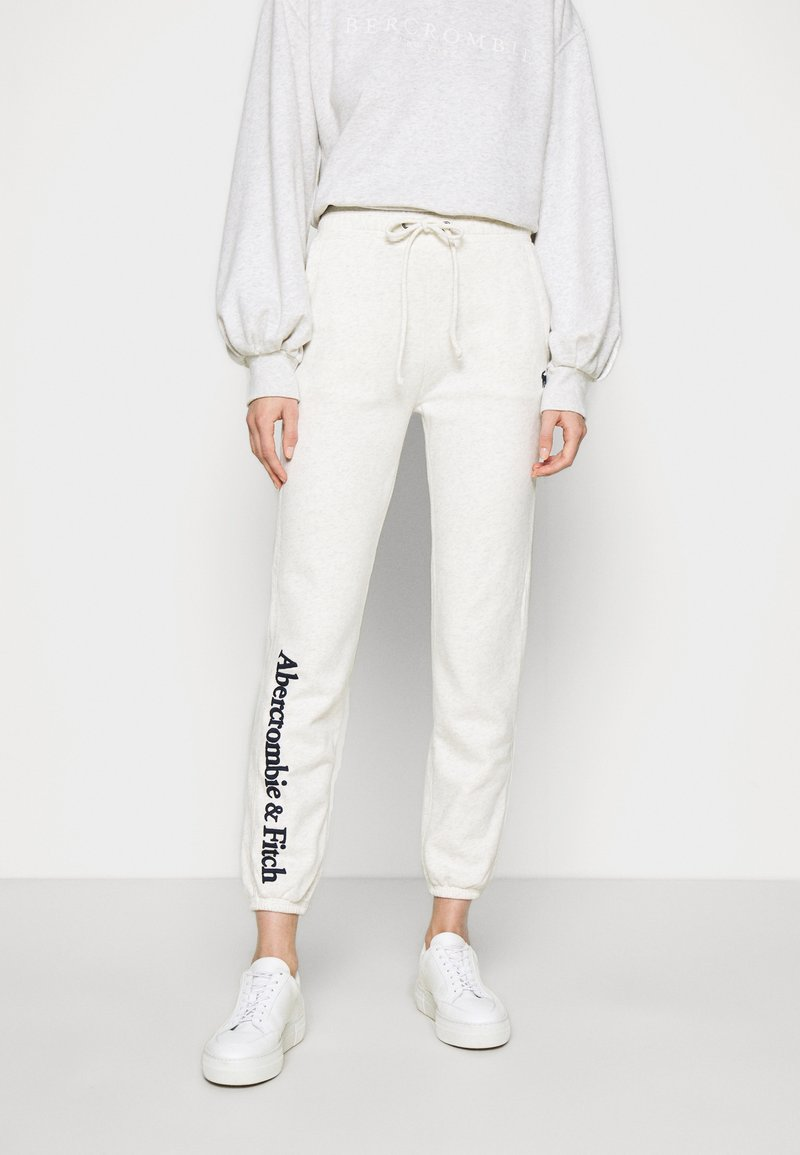 Abercrombie & Fitch - LOGO BANDED  - Tracksuit bottoms - light grey